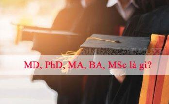 MD, PhD, MA, BA, MSc là gì?