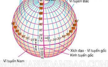 Hình minh họa đường kinh tuyến là gì