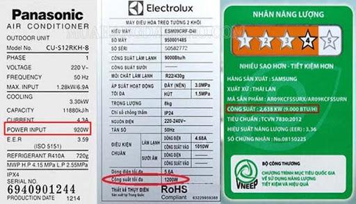 Công suất tiêu thụ của các thiết bị điện được in trên tem mác sản phẩm