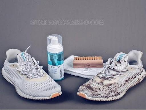 Hiệu quả sau khi dùng chai xịt vệ sinh giày sneaker .