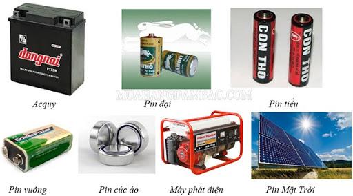 Ví dụ về các nguồn điện trong thực tế