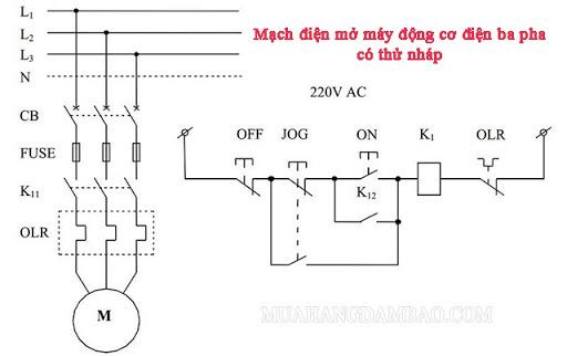 Sơ đồ mạch điện mở máy động cơ điện ba pha có thử nháp