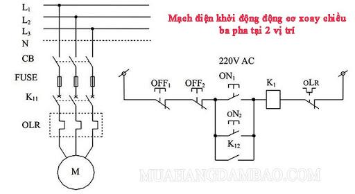 Sơ đồ mạch điện khởi động động cơ xoay chiều ba pha tại 2 vị trí