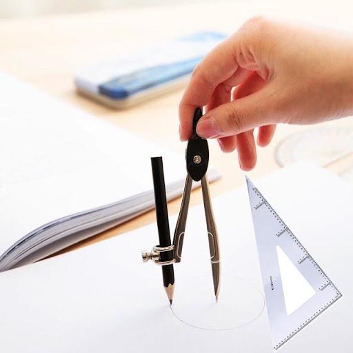 Sử dụng compa và êke để vẽ hình thoi