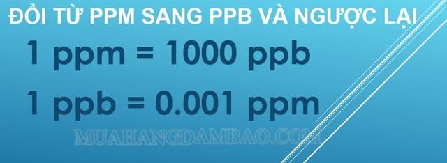 đổi từ ppm sang ppb