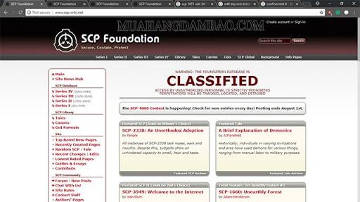Trang web chính thức của tổ chức SCP