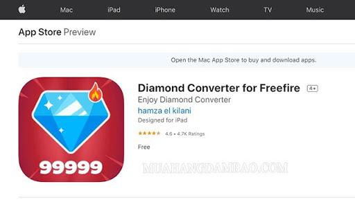 Diamond For Free Fire Converter trên Iphone