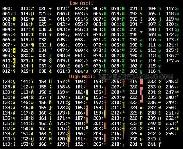 Bảng mã ASCII hiển thị trên máy tính và thiết bị công nghệ