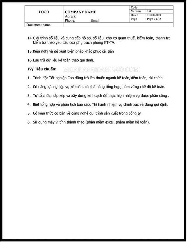 Mẫu mô tả công việc của kế toán tổng hợp