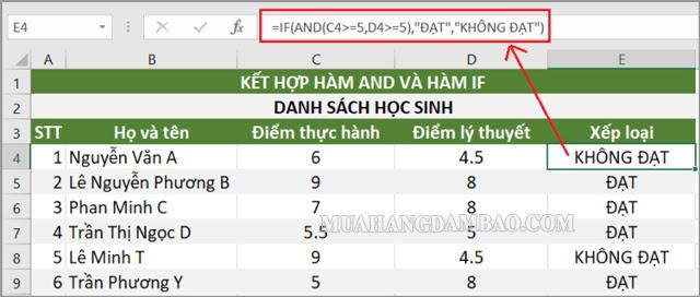 Kết hợp hàm If và hàm AND trong excel dùng nhiều trong xếp loại