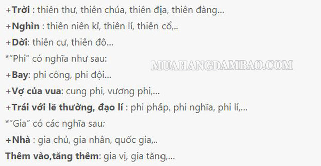 Một số từ Hán Việt thường dùng